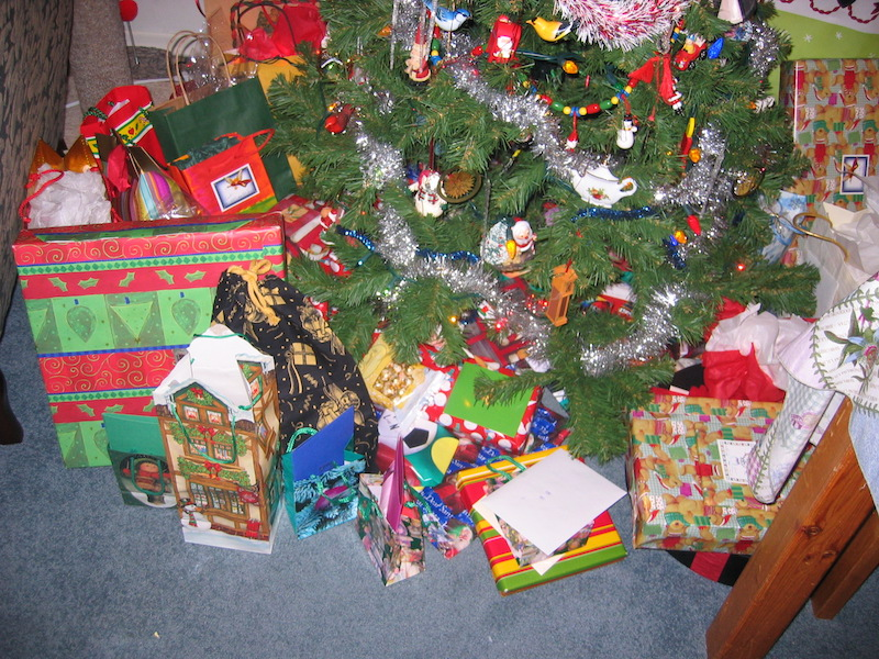 lots of presents under the christmas tree