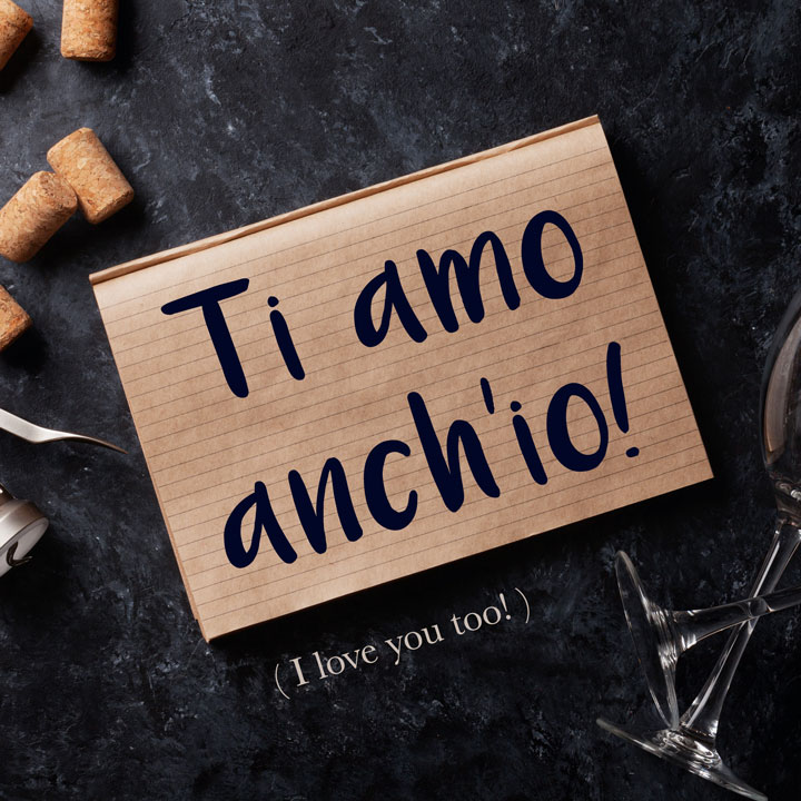 Italian Phrase: Ti amo anch'io. (I love you too.)