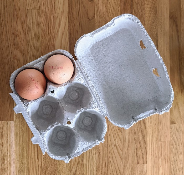 egg box with two eggs inside