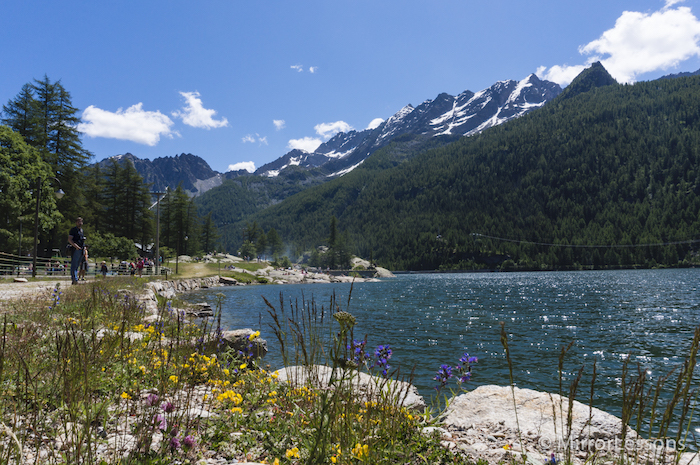 view of a lake with mountains in the background
