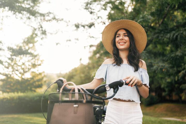 lady walking a bike
