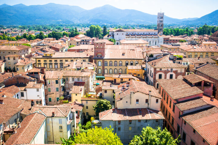 view of downtown Lucca in Italy