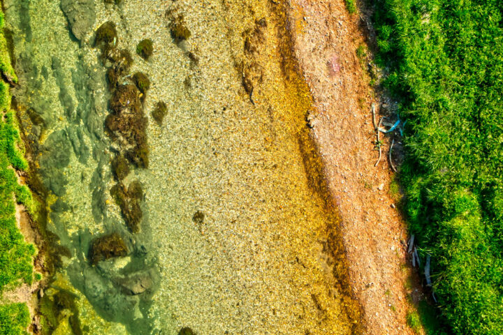 aerial view of a river bed