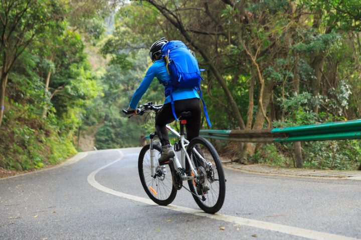 man riding a mountain bike