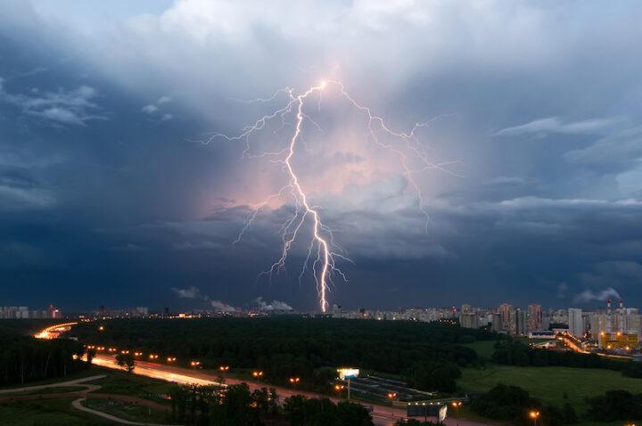 lightning on a metropolitan area