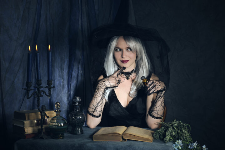 woman with a witch costume