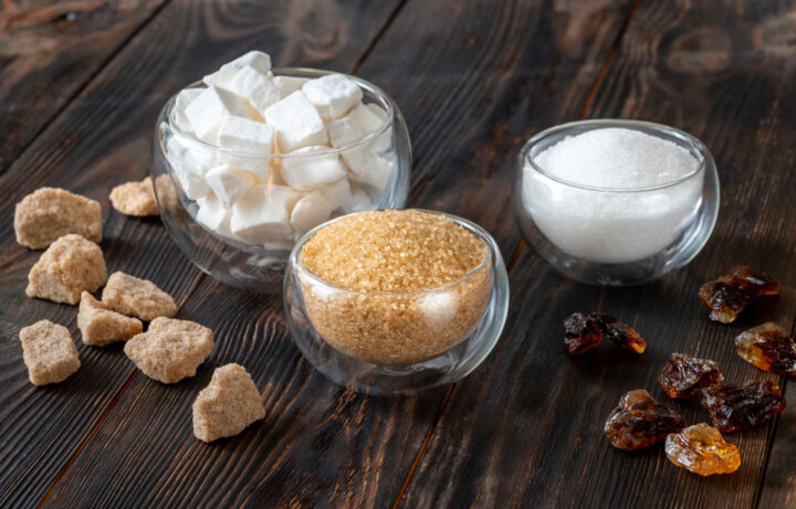 various type of sugar on a table