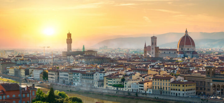 cityscape view of Florence at sunset time