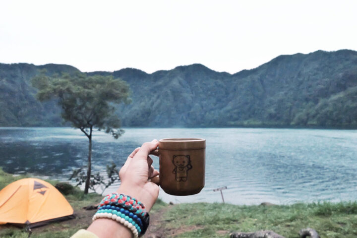 coffee mug held in front of lake in an early morning