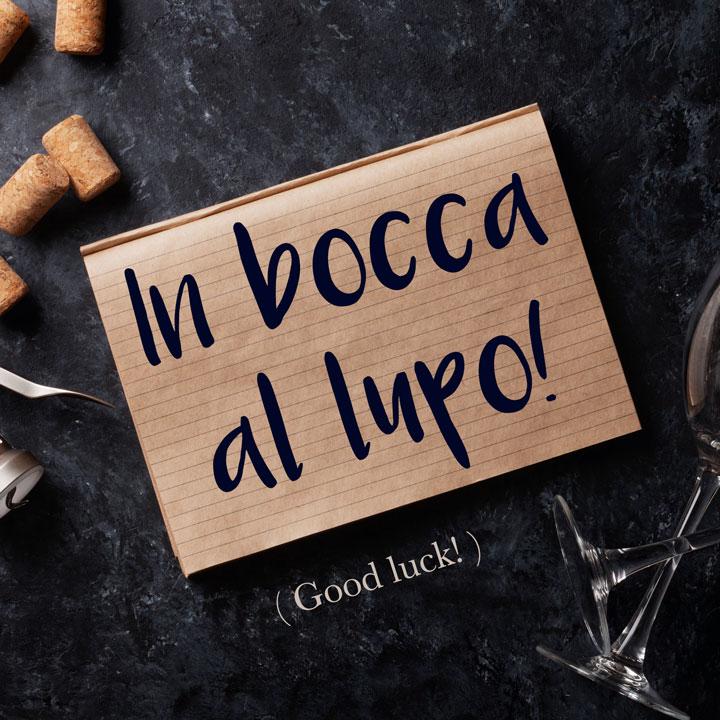 Italian Phrase: In bocca al lupo! (Good luck!)