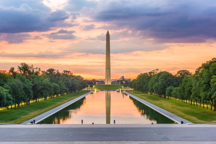 Washington Monument on the Reflecting Pool in Washington, D.C.