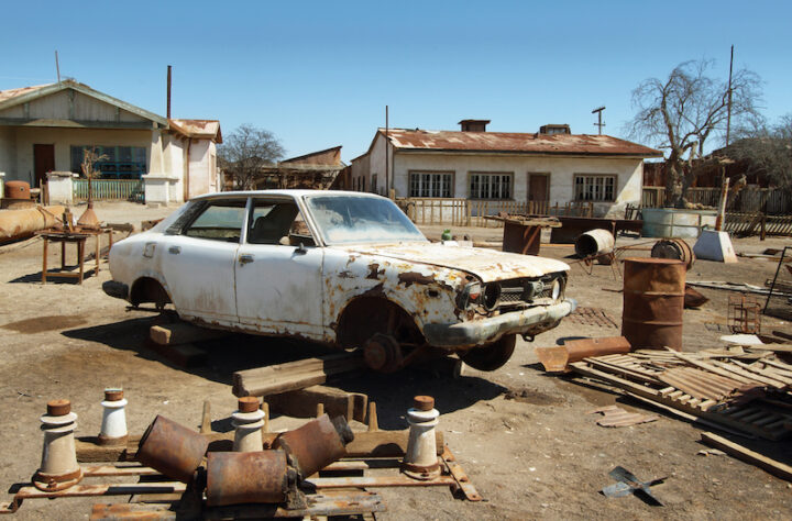 Ruin of old car in Humberstone, Chile