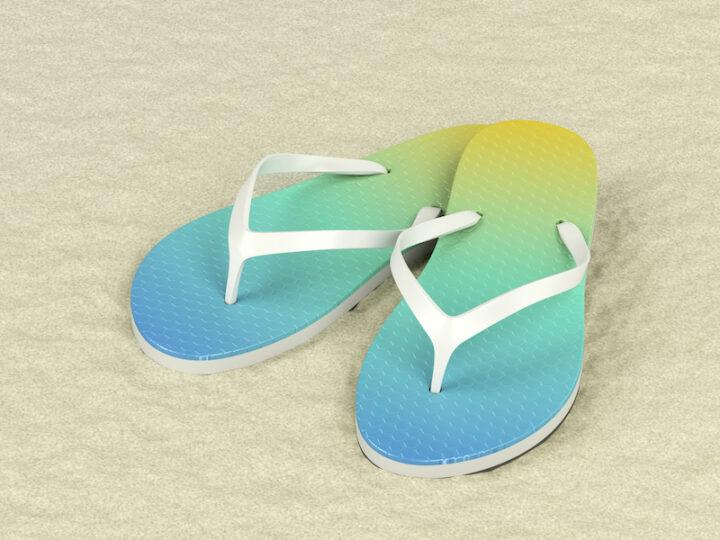 Colorful flip flops on sand, 3D illustration