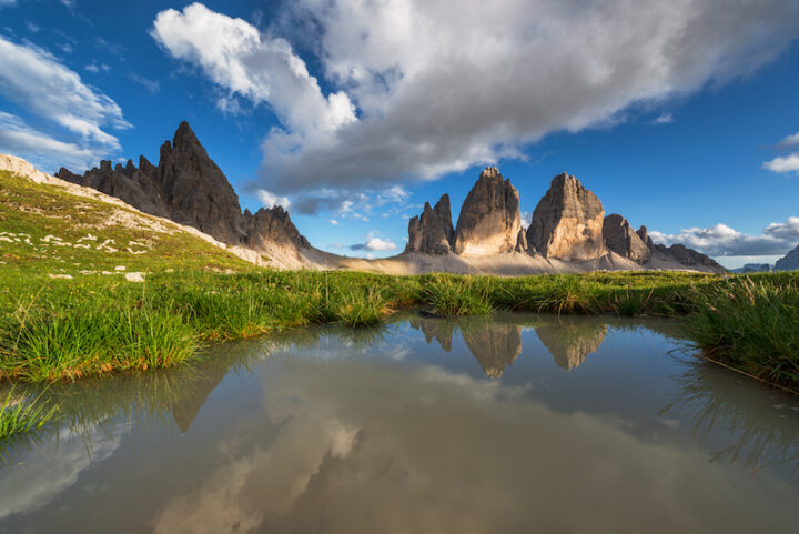 Tre Cime di Lavaredo on a beautiful summer afternoon