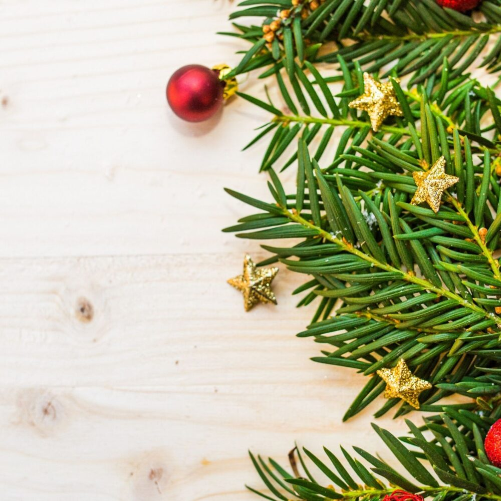 christmas decor on a wooden surface