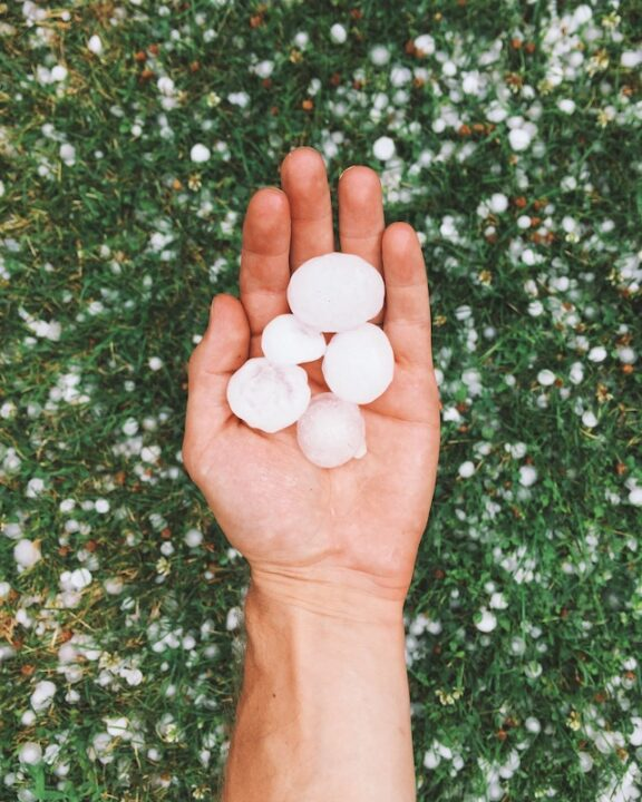 A person holding hailstones