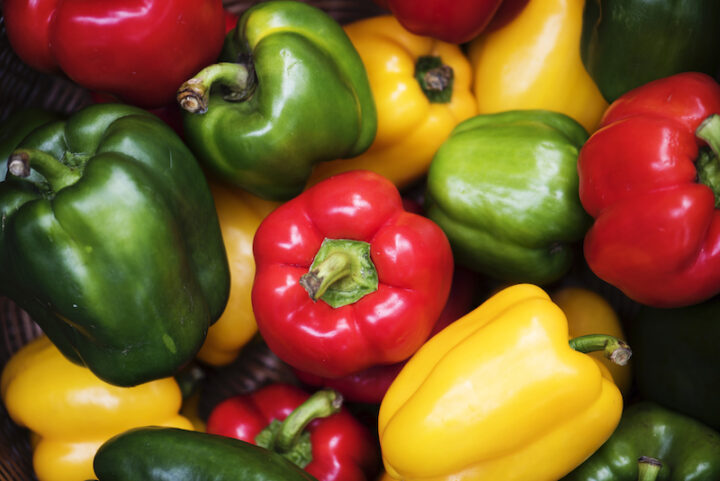 Closeup of various bell peppers