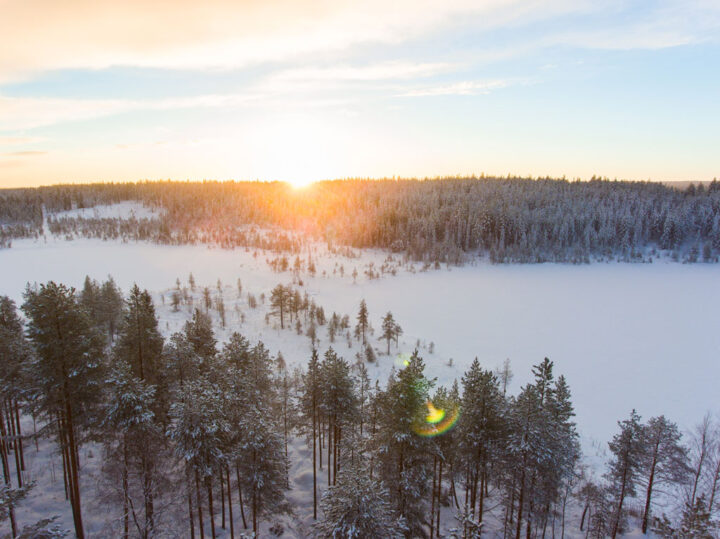 Aerial view of a beautiful Lapland winter landscape