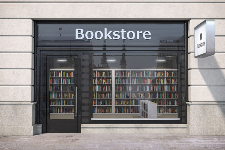 Bookstore shop exterior with books and textbooks in showcase