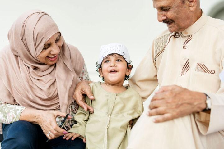 grandparents with their grandchild