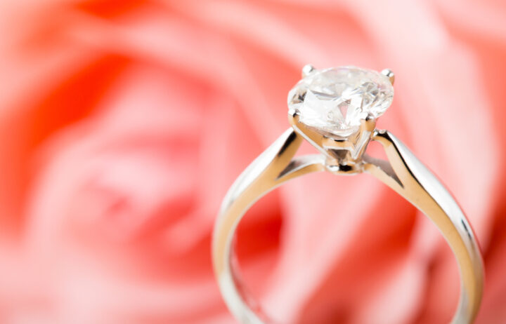 Rose and diamond ring
