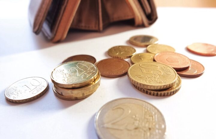 various Euro coins on a table
