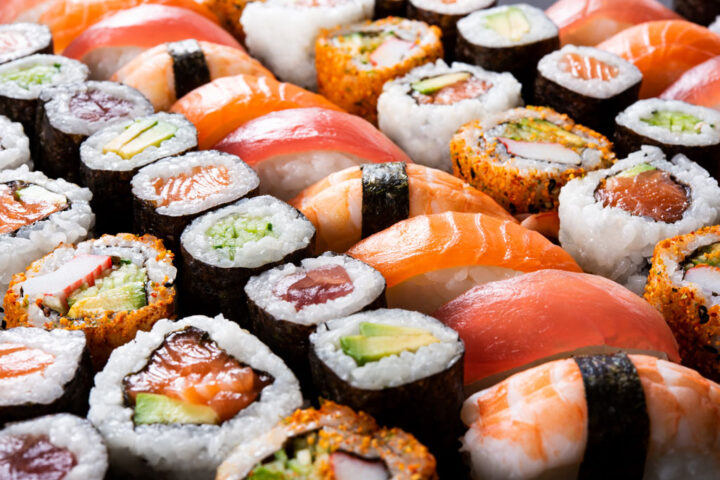 Top view of assorted sushi, all you can eat menu