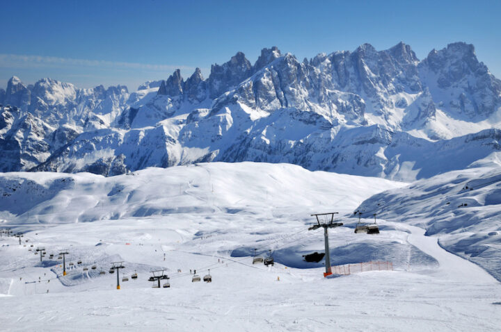 Ski paradise in the Italian Dolomites. Ski lift, piste, slopes in the Alps