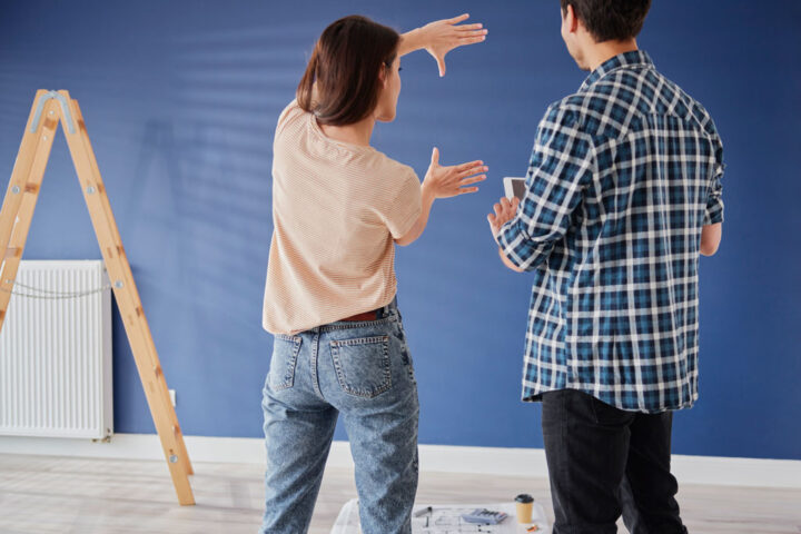 Couple making ideas for their new house