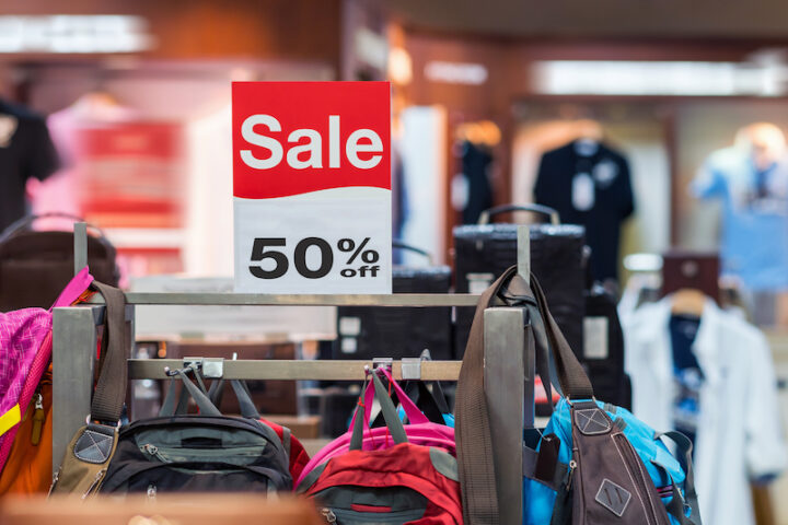 sale 50 off mock up advertise display frame setting over the bag line in the shopping department store for shopping