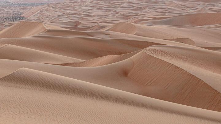 Sundown in desert. Desert background