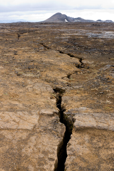 Lots of cracks run through the Krafla area in Iceland which still shows a bit volcanic activity.
