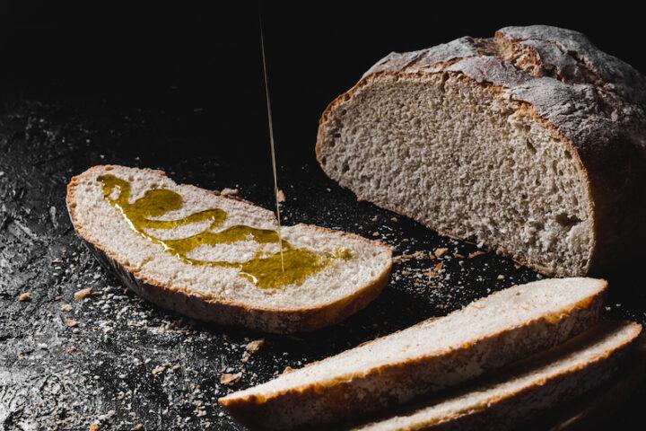 slice of bread seasoned with olive oil