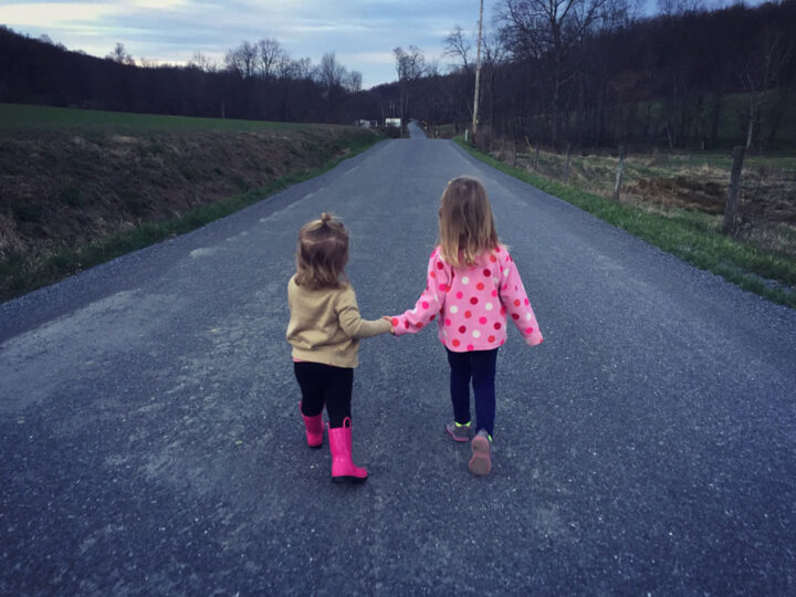 two young kids walking hand in hand on a country road