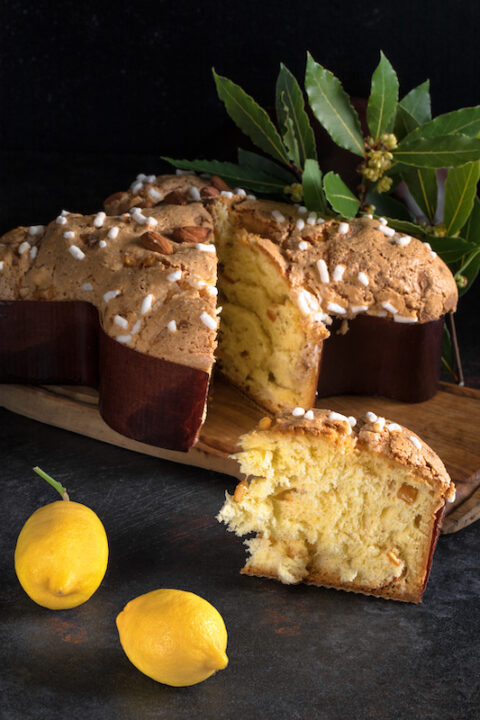 Colomba pasquale, an Italian traditional Easter cake, the counterpart of the two well-known Italian Christmas desserts, panettone and pandoro.