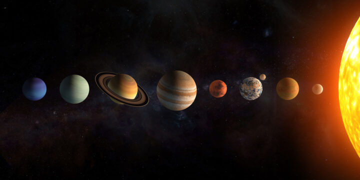 3d illustration of solar system planets set. The Sun and planets in a row on universe stars background.