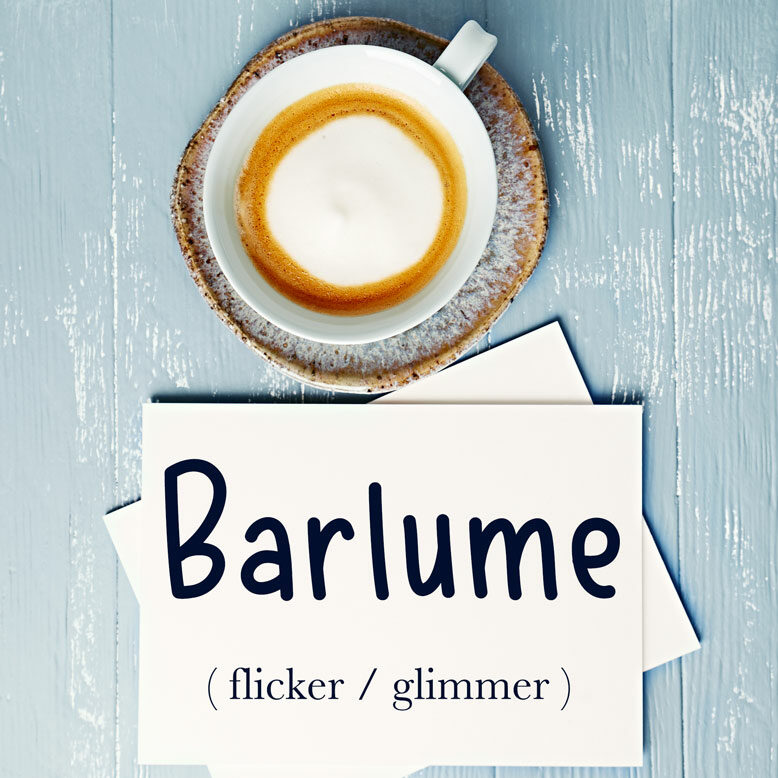 """cover image with the word """"barlume"""" and its translation written on a notepad next to a cup of cofee"""