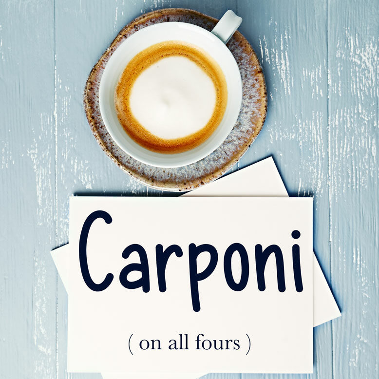 """cover image with the word """"carponi"""" and its translation written on a notepad next to a cup of cofee"""