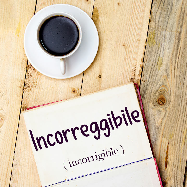"""cover image with the word """"incorreggibile"""" and its translation written on a notepad next to a cup of cofee"""