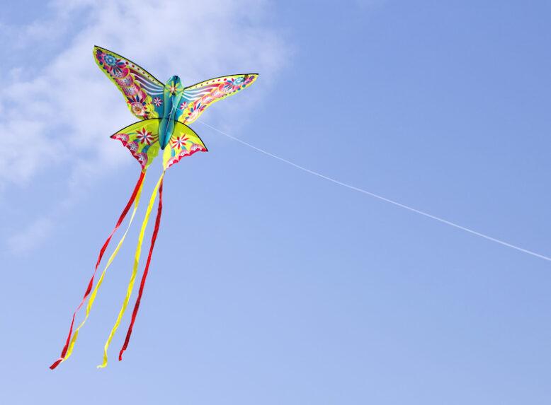 kite flying in blue sky