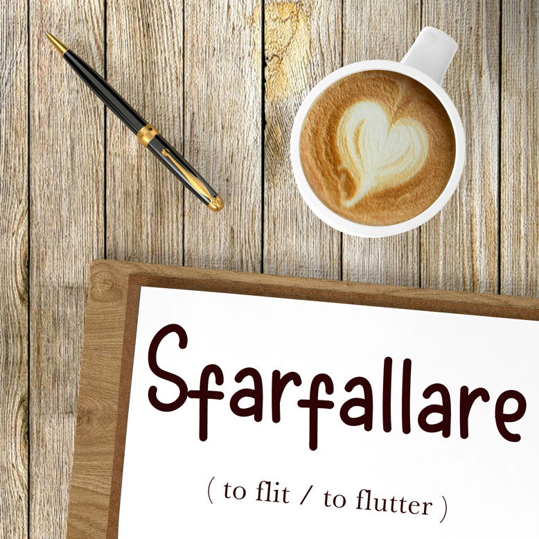 cover image with the word sfarfallare and its translation written on a notepad next to a cup of cofee