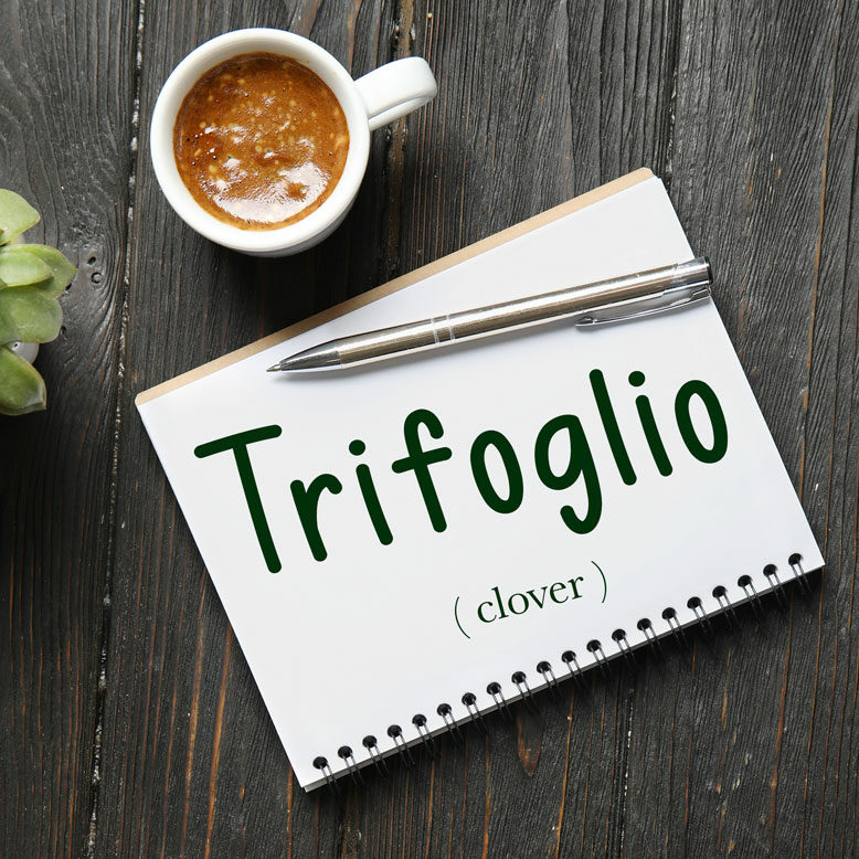 """cover image with the word """"trifoglio"""" and its translation written on a notepad next to a cup of cofee"""