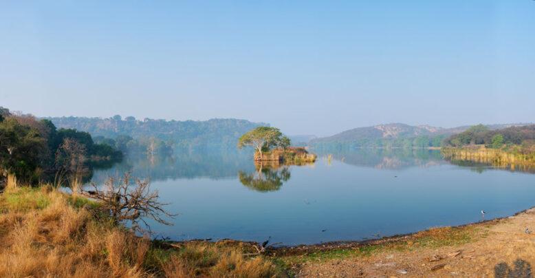 Serene morning on lake Padma Talao. Ranthambore National Park, India