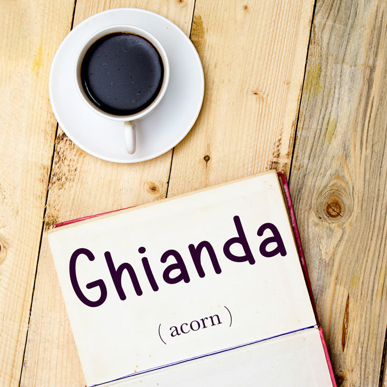 """cover image with the word """"ghianda"""" and its translation written on a notepad next to a cup of coffee"""