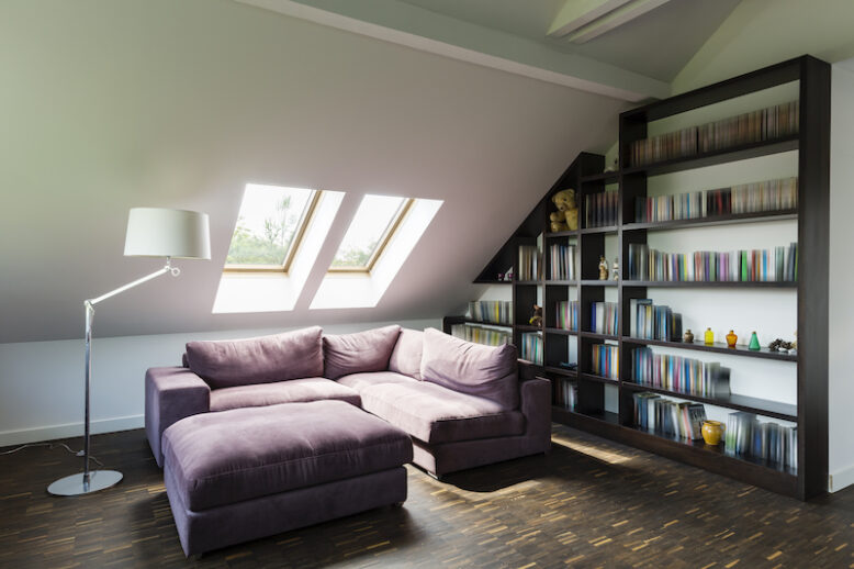 Modern and cosy living room in the attic