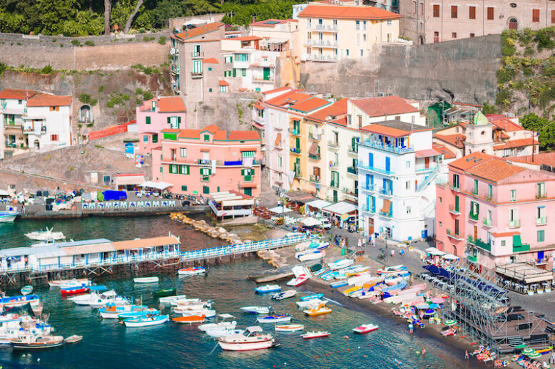 Panoramic beautiful aerial view of Sorrento, the Amalfi Coast in Italy in a beautiful summer day