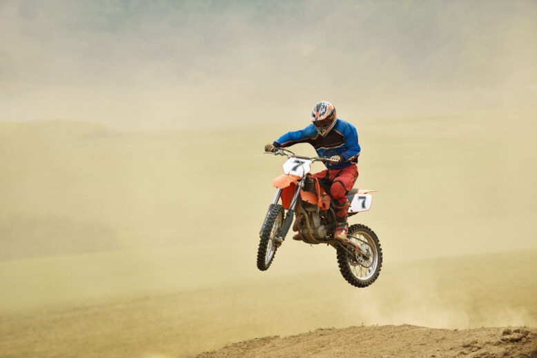 motocross bike in a race representing concept of speed and power in extreme sport