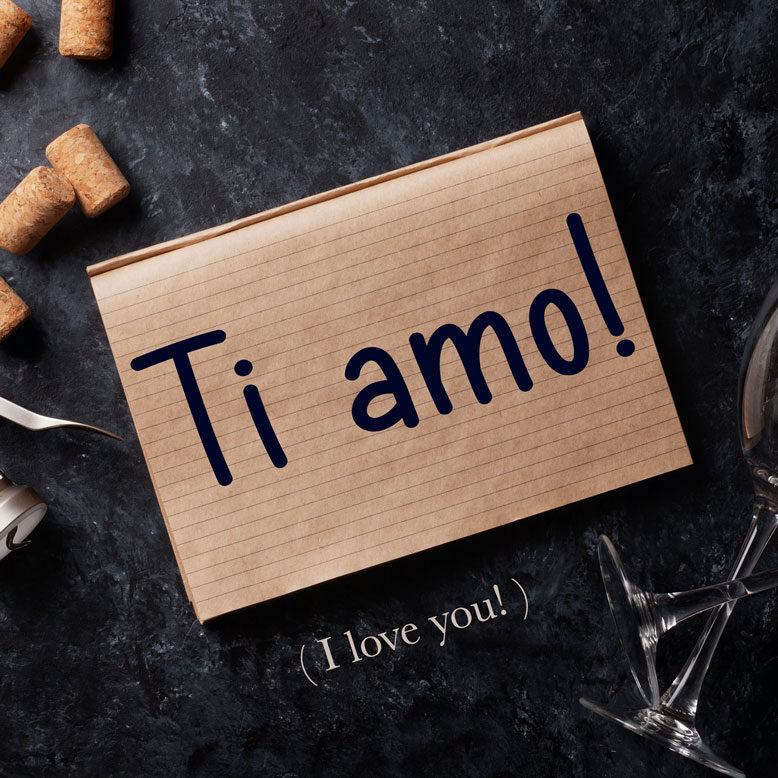 """cover image with the phrase """"Ti amo"""" and its translation written on a notepad"""