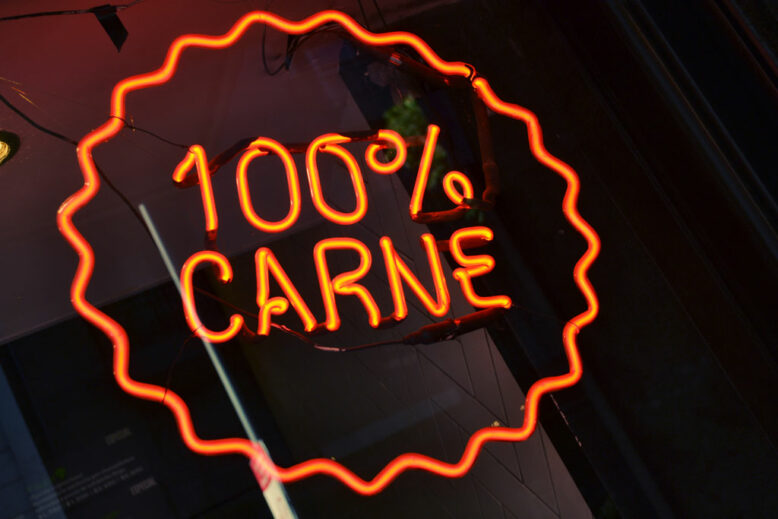 100% meat neon sign