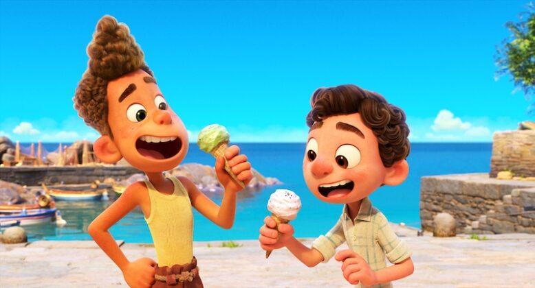 luca and alberto eating ice cream in pixar film luca